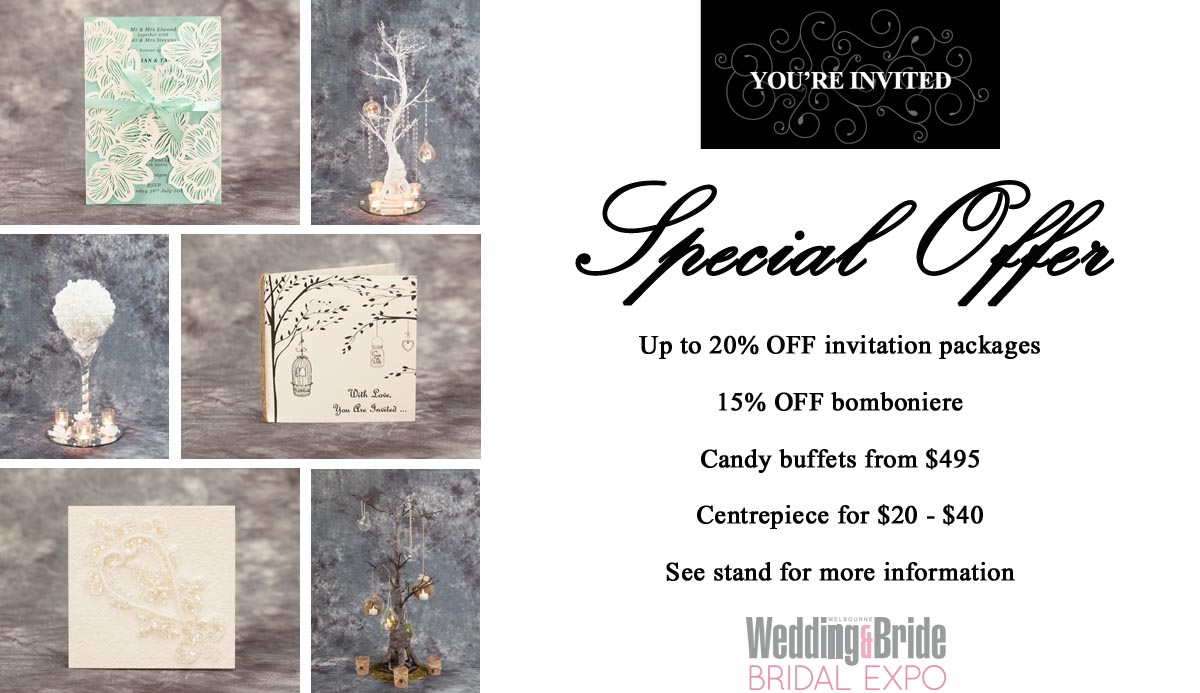 Youre invited wedding stationery bridal expo offer melbourne youre invited wedding stationery bridal expo offer stopboris Gallery