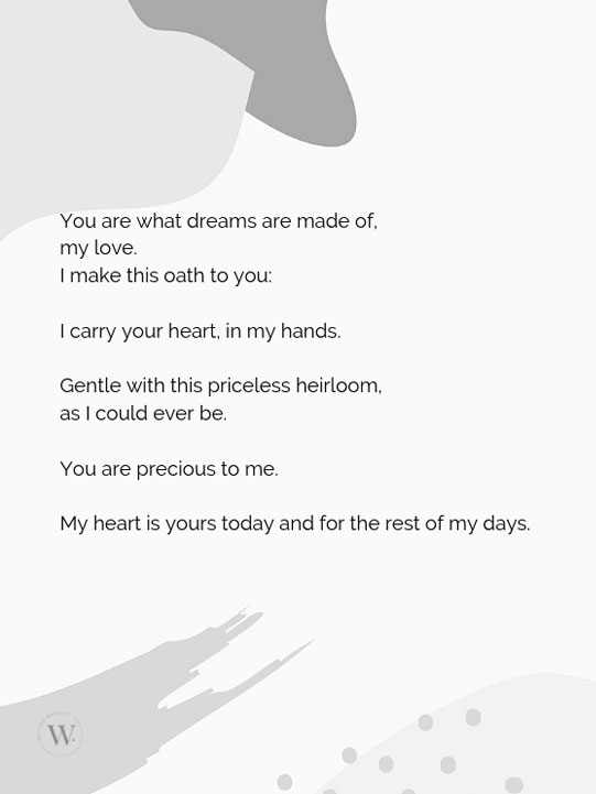 Written Word Co wedding poetry customised vows bridal speech